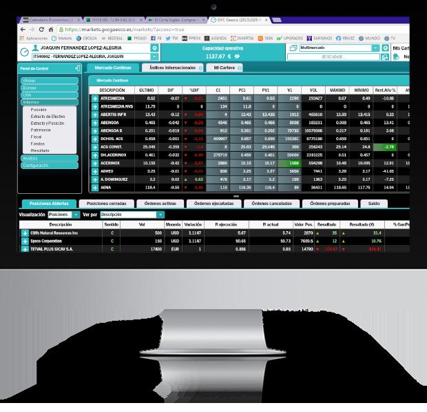 Plataforma acciones, Renta variable y derivados